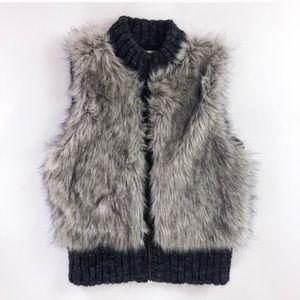LOFT faux fur zip front gray sweater vest - xs/s